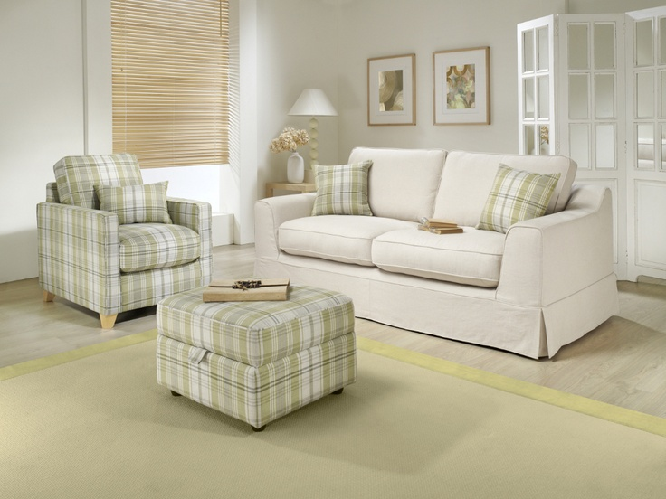 The Kelburn Suite With Green Tartan Accent Chair Cushions And Footstool