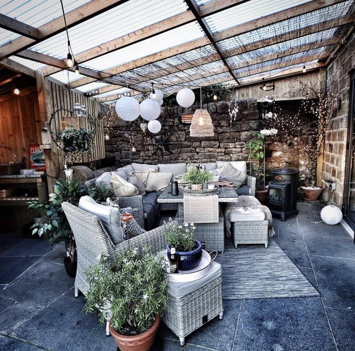 Garden Room In The Uk So The Heaters Are Needed Garden Room Outdoor Rooms Country Farmhouse Decor
