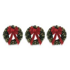 18-Inch Pre-Lit Wreaths (Set of 3)