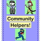 """THE HELPERS IN MY TOWN!"" - GROUP GAME, CRAFT, AND SONG!  Play a Group Game that highlights 10 of our COMMUNITY HELPERS!  Use the Conversation Starters to discuss what Community Helpers do.  Make a Craft with one of the 10 Community Helper Templates.  Learn a familiar-tune Song with a rhyming verse about each of the 10 Community Helpers in the game!  Take a break from seatwork and worksheets-- bring your Community to life!  (8 pages)  From Joyful Noises Express TpT!  $"