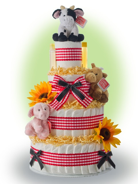 diaper cake, tractor | ... Diaper Cake Centerpieces Tractor House Pig Sheep Cake on Pinterest