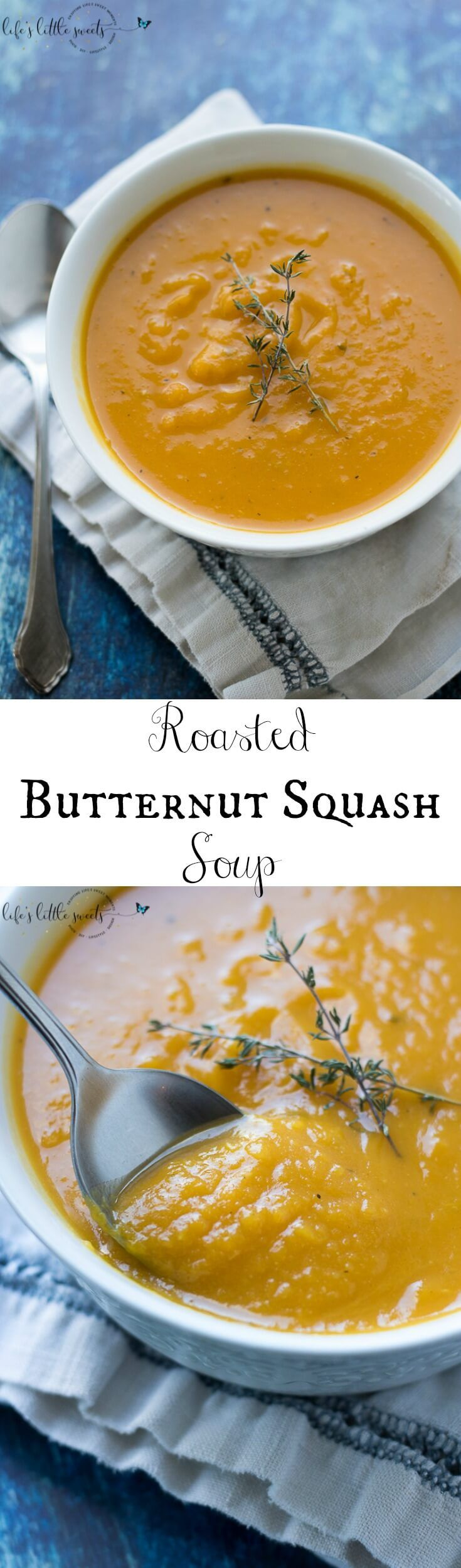 This Roasted Butternut Squash Soup is creamy, (without the cream!) savory and a delicious soup! The perfect way to enjoy butternut squash! (gluten-free, dairy-free, vegan) #butternutsquash #soup #roasted #vegan #glutenfree #dairyfree #vegan