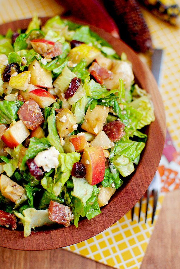 Autumn Chopped Salad: romaine, pear, apple, dried cranberries, pecans, feta, poppyseed dressing