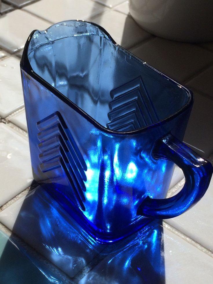 Vintage Cobalt Blue Depression Glass Pitcher, Cream Pitcher, Hazel Atlas Glassware,1940's by MyBloomingNest on Etsy https://www.etsy.com/listing/274787260/vintage-cobalt-blue-depression-glass