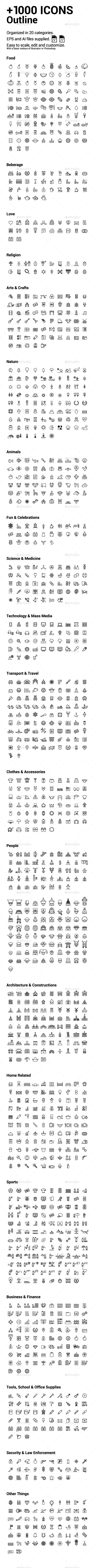 +1000 Outline Icons  — EPS Template #inspiration #graphic #medical • Download ➝ https://graphicriver.net/item/1000-outline-icons/18640820?ref=pxcr