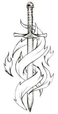 Flaming sword.