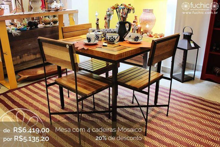 Este conjunto de mesa com 4 cadeiras tem 20% de desconto durante esse mês. É um dos móveis em promoção na nossa loja dos Jardins, não perca!  //  This table with 4 chairs is 20% off during this month. It is one of the furnitures on sale at our shop at Jardins neighborhood, don't miss it!  #fuchic #nafuchictem #lojafuchic #promoçãofuchic #fuchic10anos #aniversáriofuchic #calçados #bolsas #acessórios #artesanato #artepopular #artepopularbrasileira #brasil #handmade