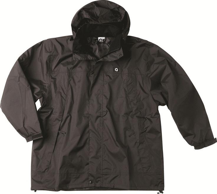 100% polyester, veste de pluie triple étanchéité, ceinture avec cordon de serrage, veste a capuche totalement étanche et deux poches ventrales