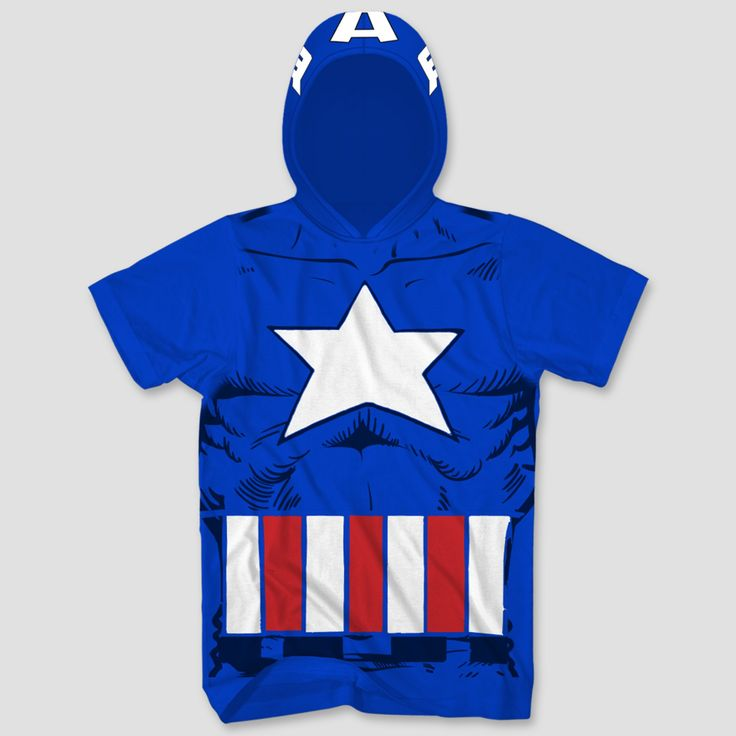 Men's Captain American with Hood and Removable Shield Graphic T-Shirt - Blue Xxl