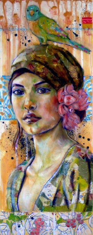 Saudade- Leo-Vinh- 2014- mixed media painting- portrait Le perroquet, la fleur dans les cheveux ainsi que les couleurs vives représente bien l'exotisme