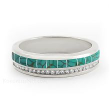 """""""Stormy Sky - River"""" Women's Diamond and Turquoise Wedding Band"""