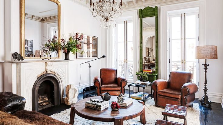 modern victorian room // love the brown leather club chairs and the fireplace and mirror