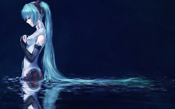 Anime Anime Girls Blue Hair Cyborgs Detached Sleeves Hatsune Miku Long Hair Miku Append Robots Simple Background Twintails Vocaloid Vocaloid Append Water Wet Women