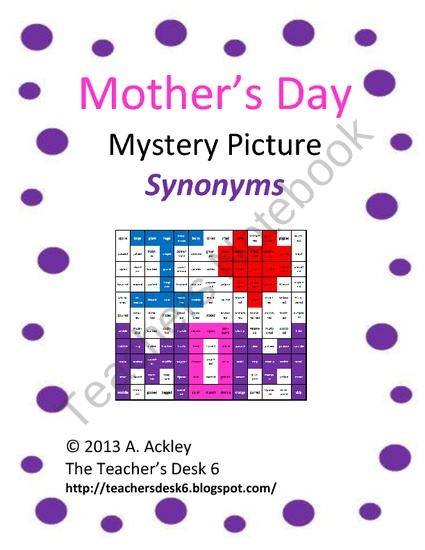 Mothers Day Mystery Picture Synonyms from The Teachers Desk 6 on TeachersNotebook.com (3 pages)  - Following a key, students match a word to its synonym by coloring squares to reveal a mystery picture. The synonyms practiced in this picture are for common words: said, walk, big, nice, eat. This activity aligns with Common Core Standard ELA L.5, among o