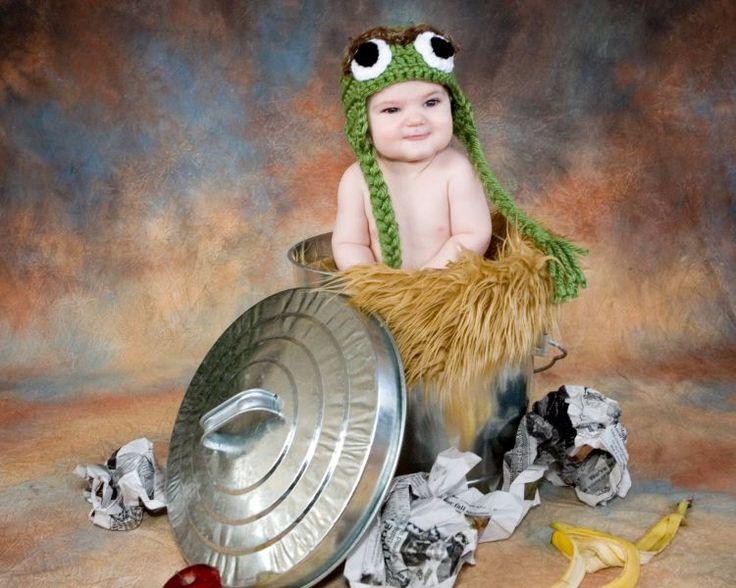 Oscar aus der Mülltonne als Variante für Baby