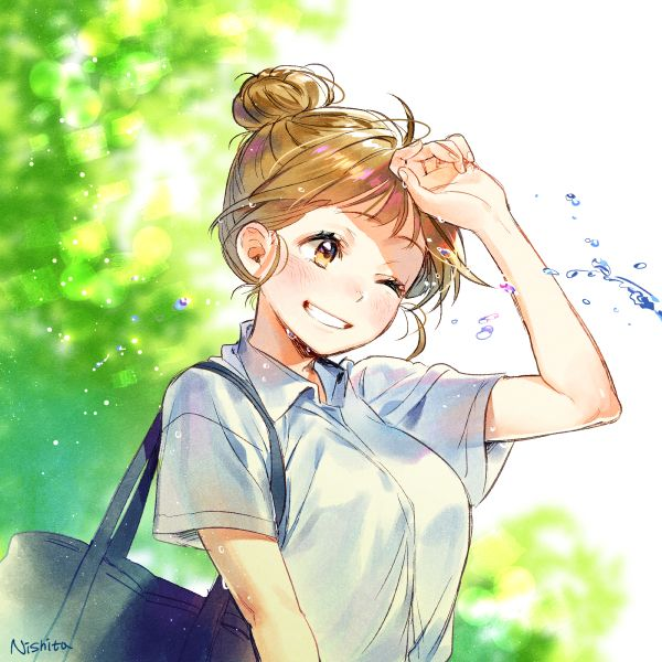 Anime school girl...smiling...hair in a bun...bright sky...trees...cute...kawaii