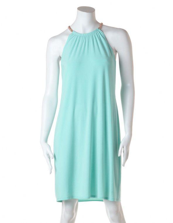 Aqua Halter A-Line Dress, Aqua/Gold