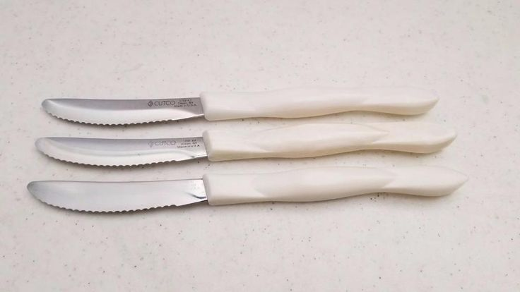 $19.95 3 Used Cutco DD Serrated Steak Table Knives 1759 Classic Pearl Handle #Cutco