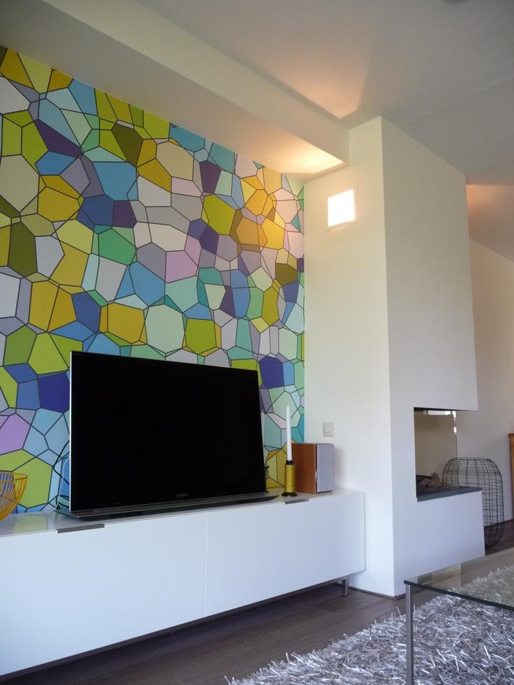 Wandmeubel #boconcept en behang van #eijffinger. Interieurontwerp door Daphne van der Knijff-Looman van #VDKL