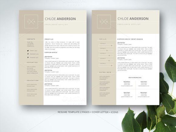 38 best CV Designs images on Pinterest Resume templates, Cv - two page resume format
