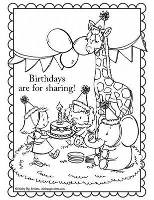 several birthday coloring sheets