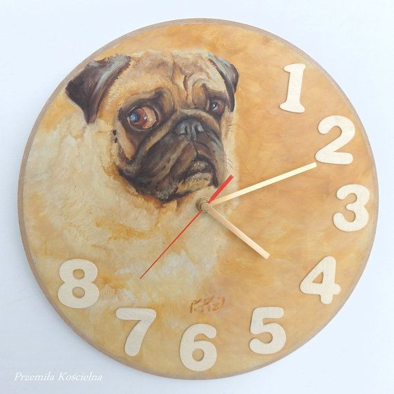 PUG portrait Painted clock dog Original oil by CanisArtStudio