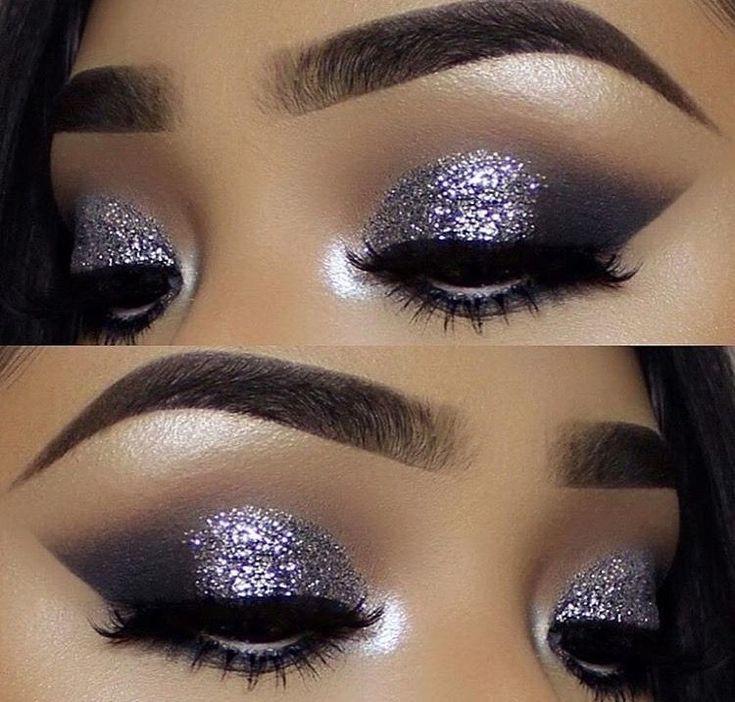 макияж глаз пошаговое фото с блестками так