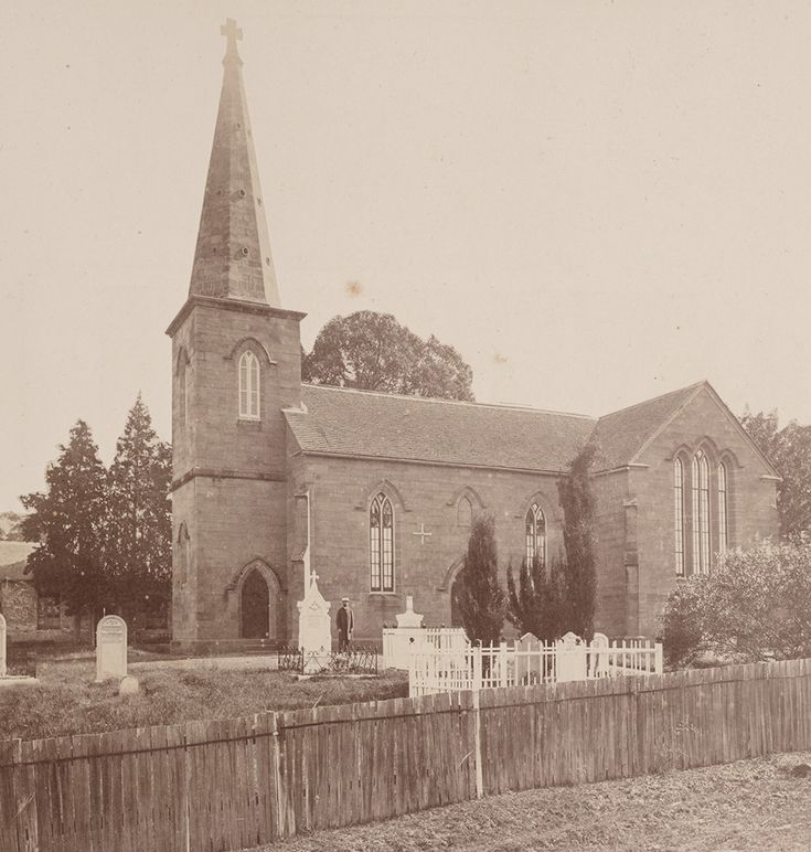 St Paul's Anglican church,Cobbitty,outer western suburb of Sydney in c1880.A♥W