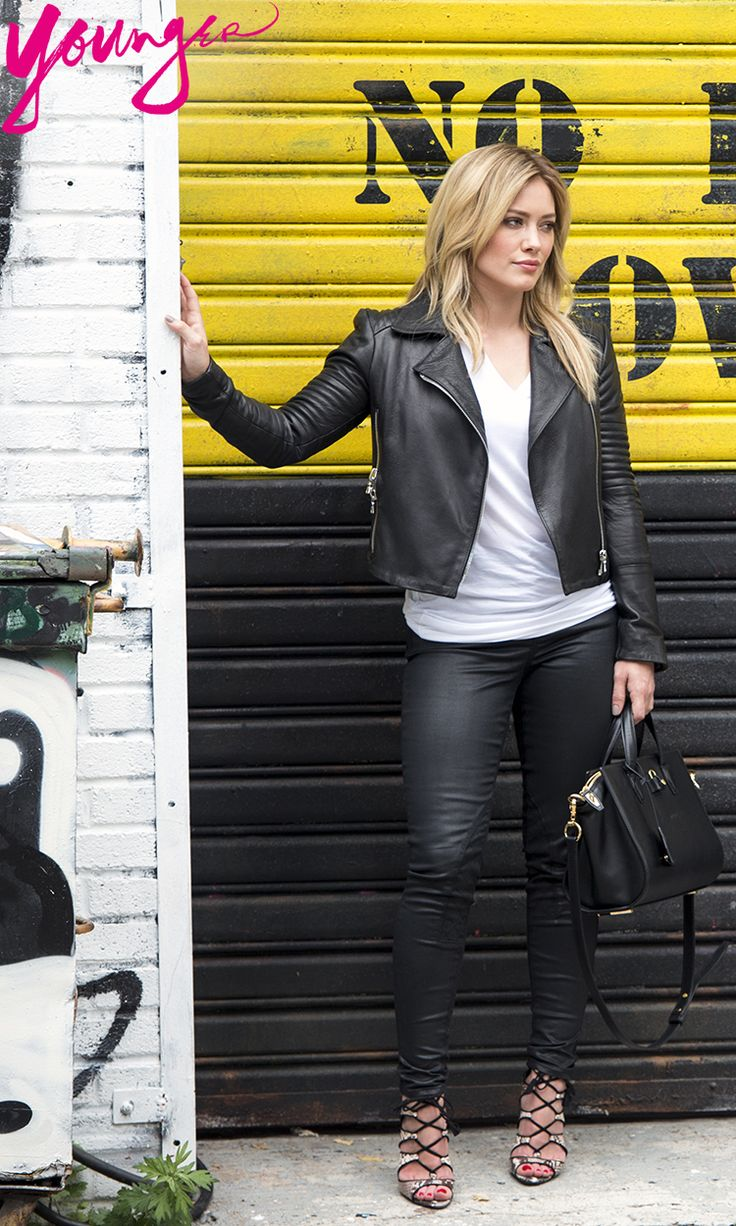 Amp up your street style with leather and killer heels, Hilary Duff style. Explore more gorgeous style from her new series 'Younger', click for a sneak preview.