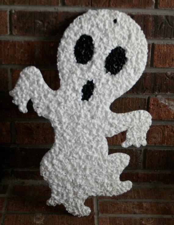 Vintage Retro 1970s Melted Plastic Popcorn Halloween Ghost Door Wall Decoration School Fundraiser