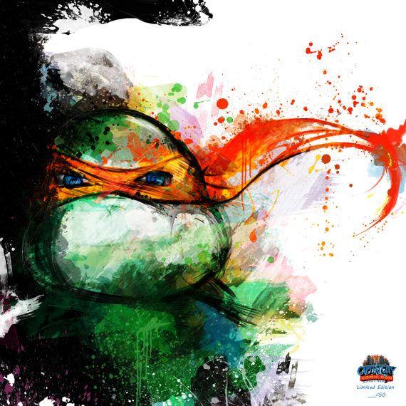 Teenage Mutant Ninja Turtles Art Canvas Set: Four 12 x por j2artist