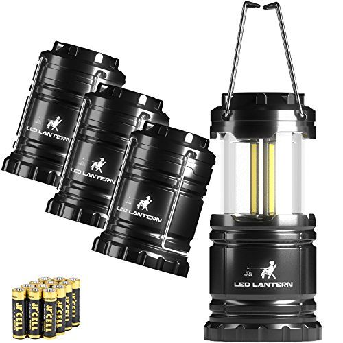 MalloMe LED Camping Lantern Flashlights 4 Pack - SUPER BRIGHT - 350 Lumen Portable Outdoor Lights with 12 AA Batteries (Black Collapsible)