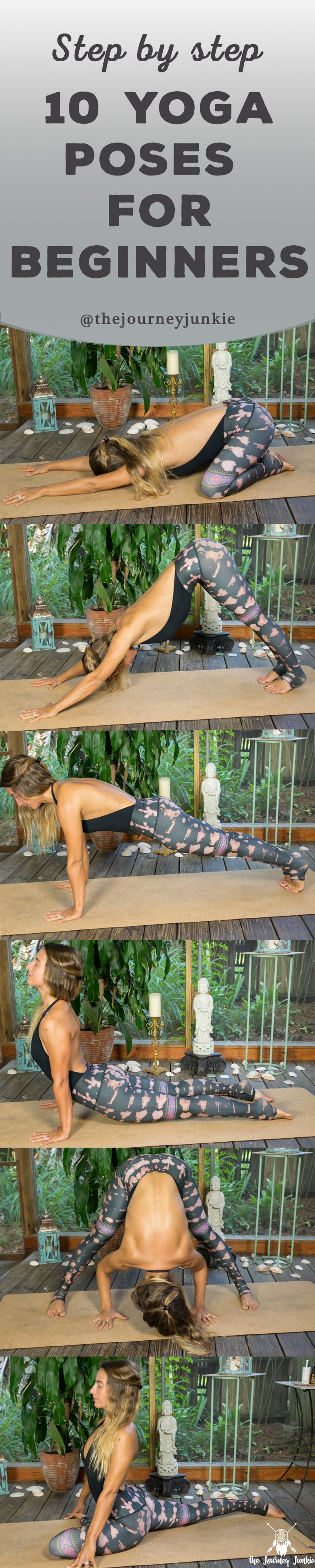 New to yoga?  Learn 10 common yoga poses that will help create and shape your yoga practice! Pin it now, learn beginner yoga poses later!