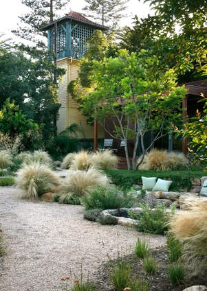 Low Water Garden Design traditional landscape by be landscape design Backyard Water Tower Extended View Grass Garden Low Water Landscape