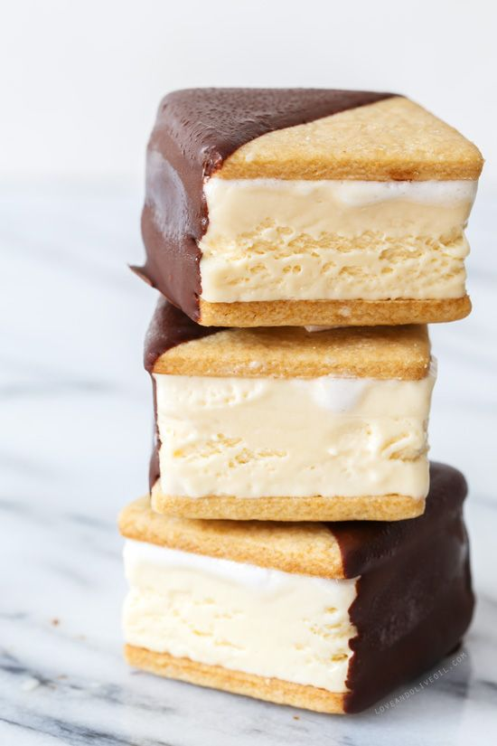Happy National Ice Cream Day! These Chocolate-Dipped S'Mores Ice Cream Sandwiches from @loveandoliveoil are making us drool!