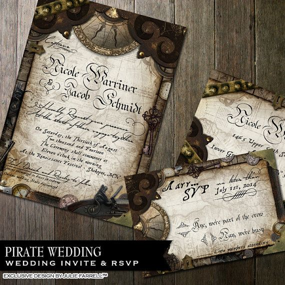 Nautical Pirate Wedding Invitation - Invite and rsvp - Digital printables or Printed - Offbeat wedding on Etsy, $60.00