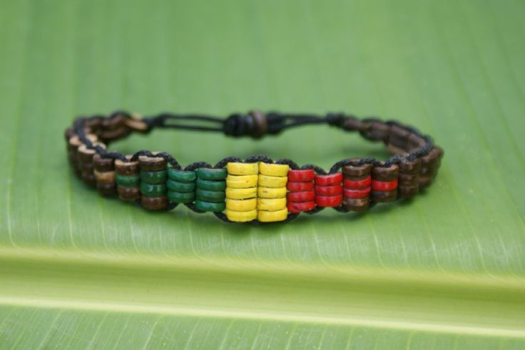 Rasta Coconut Bead Bracelet - Bohemian Style Jewelry, Accessories and Home Decor for Free Spirits