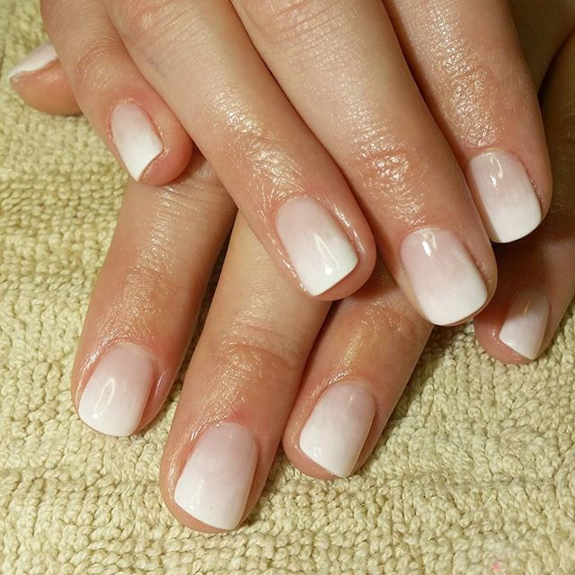 Ombre shellac for a beautiful bride to be.. #shellac #shellacnails #nails…