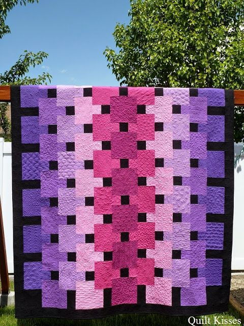 Quilt Kisses: Floating: A Finished Quilt - Made by Jasmine with Christina's patterns - a different free motion quilting design on every block!
