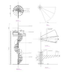 Cad block of spiral staircase in dwg 2d wireframe cad for Spiral stair dwg