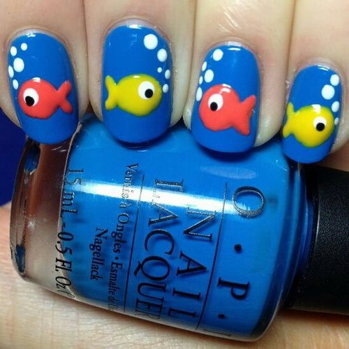 fish with bubbles nails - Cute yellow and pink