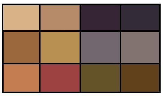 Нейтральные цвета/ Самые мягкие цвета. Подходят для базовой одежды, бизнес- гардероба, верхней одежды, обуви.  К серо-сине-коричневой гамме добавkлен еще и мягкий нейтральный красный - с яркими цветами он теряется, и лучше смотрится именно в этой компании.