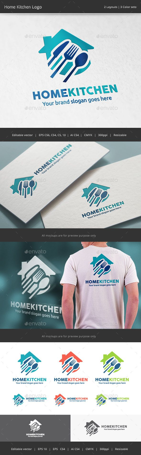 Home Kitchen Logo #food #fork #fresh • Available here → http://graphicriver.net/item/home-kitchen-logo/15574386?ref=pxcr