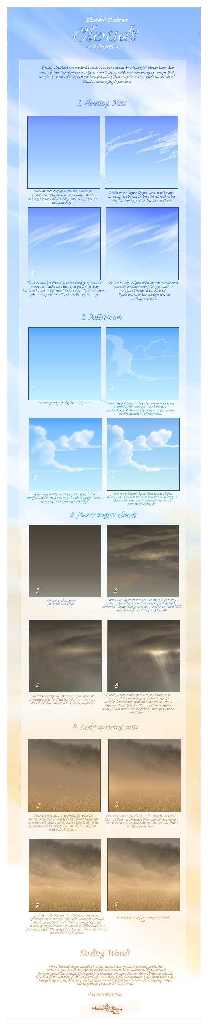 Clouds tutorial by MinnaSundberg.deviantart.com on @deviantART  Clouds are pretty straightforward, but I'm sure I regularly forget a few things. Anyway, another set of guidelines for painting.