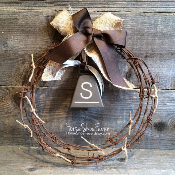 Cowbell Barbwire Wreath 1ft. Love & Cows Cowbell. Cattle, Dairy, Ranch, Anniversary, Wedding Gift, Christmas Gift, Christmas Wall Art. Christmas Decorations. Rustic Home Decor, Western Home Decor, Country Home Decor, Cabin Decor, Lodge, Cowgirl, Cowboy, Barbwire, Ranches, Farm, Gifts, Interior Accents. Horseshoe Decor, HorseShoeFever, Etsy. I Will Love You Till The Cows Come Home.