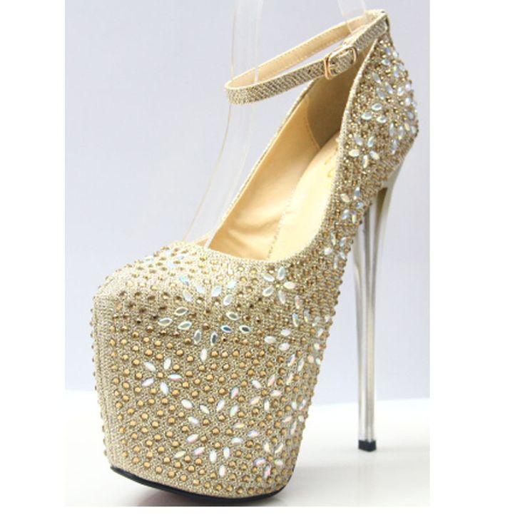Женщин-лодочки обувь золото 34 - 43 размер 2016 сексуальные т-шоу 19 см высокий каблук горный хрусталь обувь 8 см platfrom ну вечеринку золотые туфли туфли на высоком каблуке