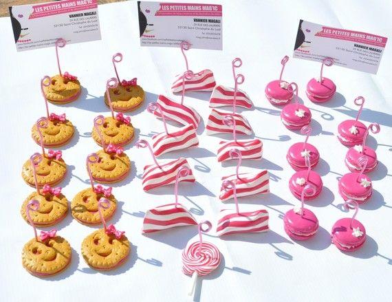 marque place ou porte nom gourmandise bonbon macaron personnalisable