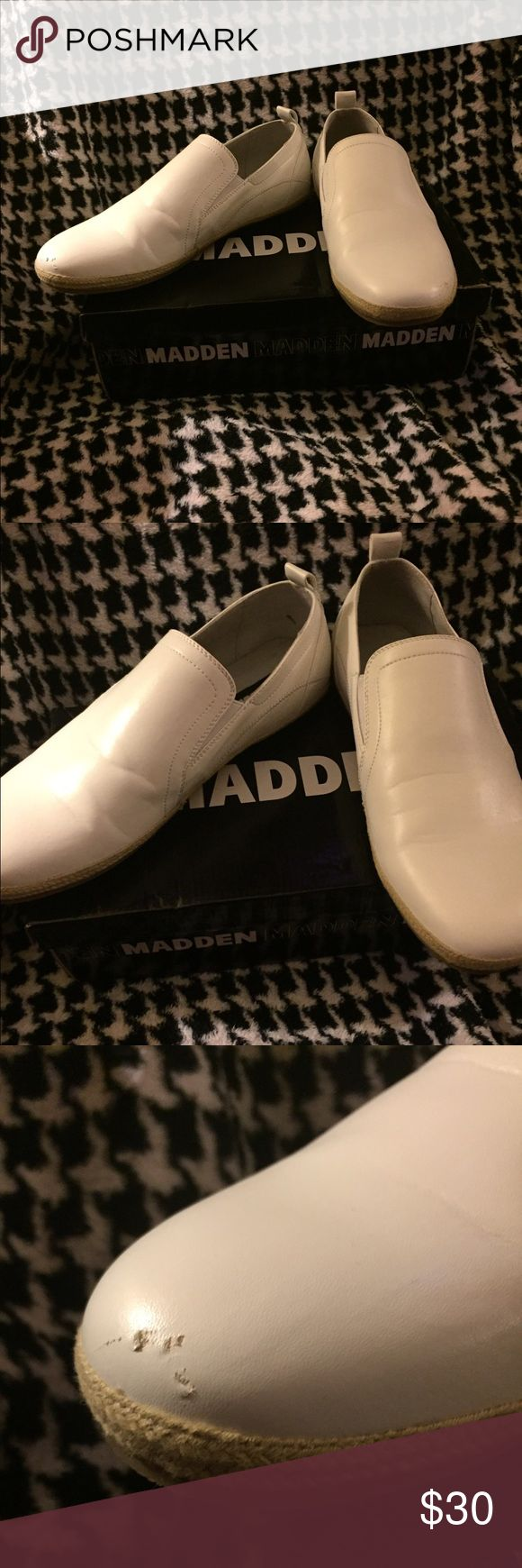 Steve Madden M-Gamble Men's Shoes Steve Madden M-Gamble Men's 11M White Slip On Shoes. Only Worn Once In a Wedding But There Are Some Scuff Marks On Both Shoes In The Toe Area as Shown in The Pictures. Steve Madden Shoes Loafers & Slip-Ons