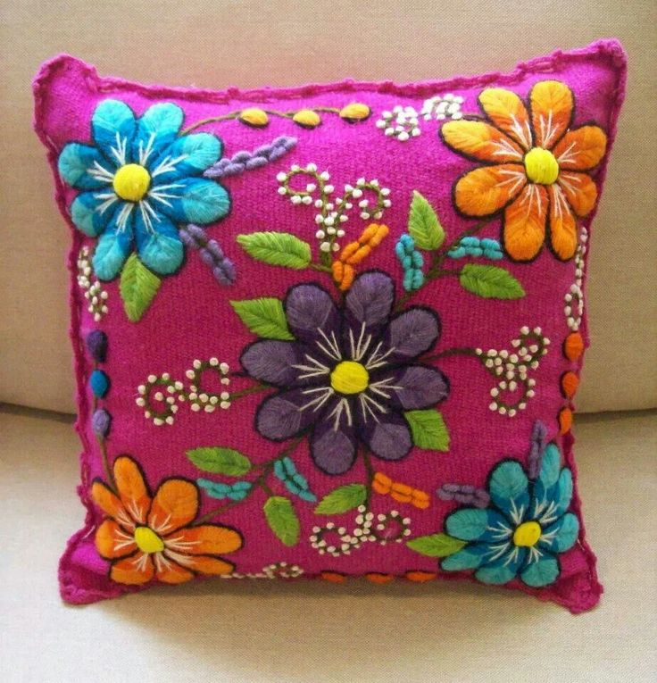 peruvian embroidered pillow hand embroidered flowers sheep amp alpaca wool 16 x 16 - PIPicStats Pineapple Embroidery, Mexican Embroidery, Hand Embroidery Flowers, Cushion Embroidery, Crewel Embroidery, Cross Stitch Embroidery, Wool Applique Patterns, Embroidery Patterns, Embroidered Lace Fabric