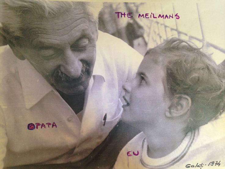 with Opapa (my grandfather from my mother's side). Pincas Bercu Meilman, one of the most amazing people. (I was 2 years old in this picture, captured by my mother on the Danube river, between Braila and Galati).